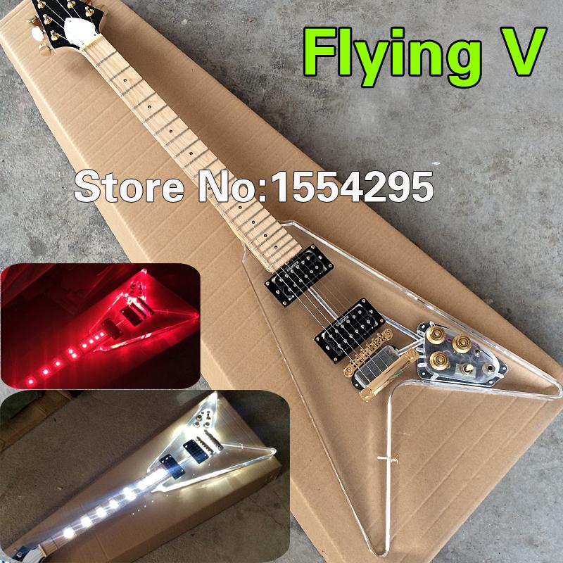 DIY, High Quality Acrylic Electric guitar, Flying V shape with LED Light, Gold Hardware -Wholesale(China (Mainland))