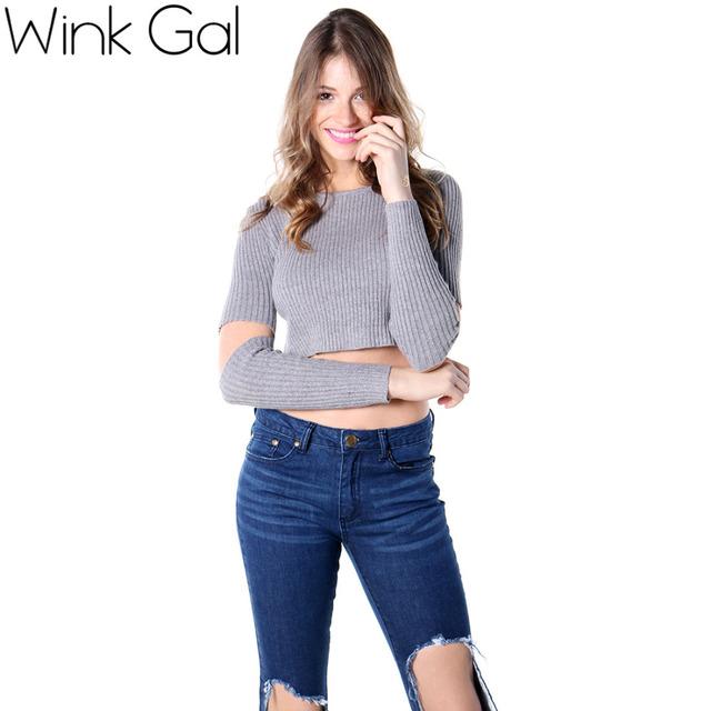 Wink Gal 2015 Autumn Winter Sexy Round Neck Hole Короткий Женщины Вязанный свитер ...