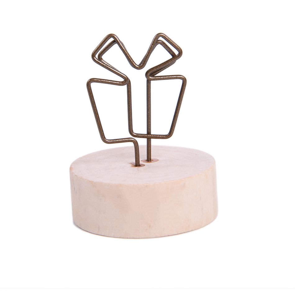 New Round Wood Wrought Iron Pastoral Style Notes Clip Creative Message Photo Clip Stand Memo Clip Note Holder Card Holder