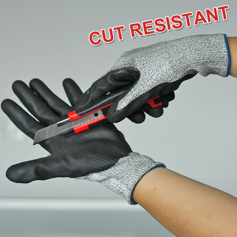 NMSafety 3 Pairs Fashion Black Foam Nitrile Coating Nylon and Hppe Protective Gloves(China (Mainland))