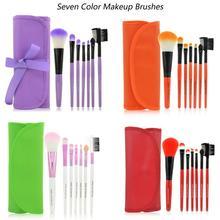 Sada 7 ks profesionálních kosmetických kabuki štětců v barevném pouzdře