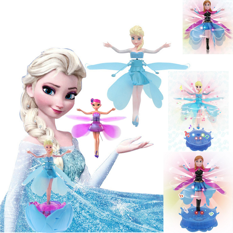 Hot Cheap Princess Fairy Elsa and Anna Doll Princess Infrared Induction Control Fashion Boneca With Light Music Electronic Toys(China (Mainland))