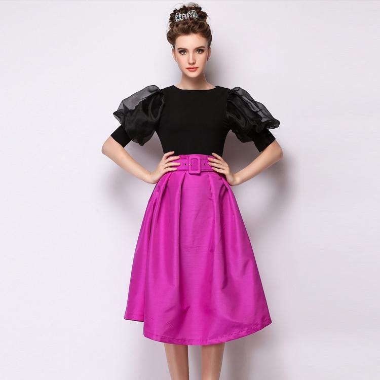 European boutique skirt, the temperament of women's fashion skirt tall waist skirt send belt(China (Mainland))
