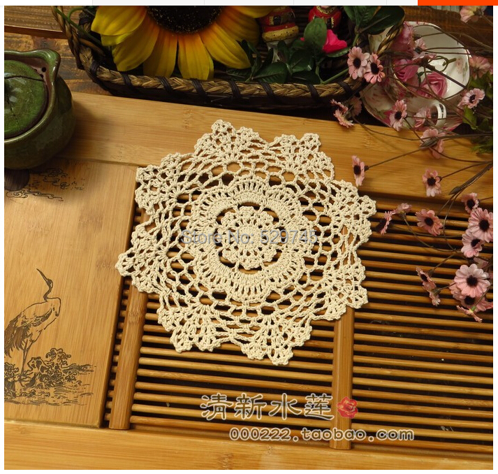 New Handmade Cotton Crochet doily flowers Woven decorative Pad Doilies Round tablecloth mat Placemats Cover cloth(China (Mainland))