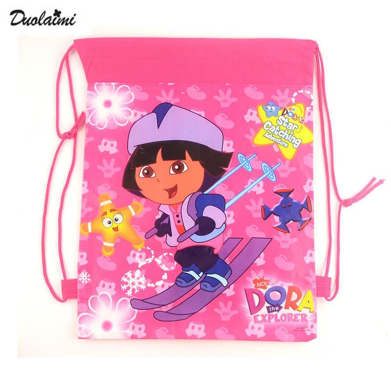 1 pic Dora school bags kids cartoon backpack drawstring bag & infantile For children bag back to school mochila news 2016(China (Mainland))