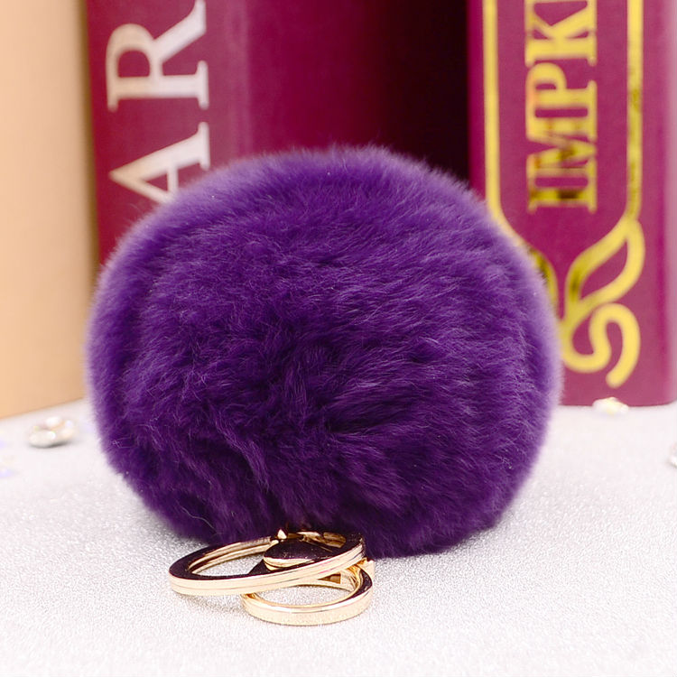 New Hot Sales 8CM Super Round Metal Key Chain Real Rabbit Hair Bulb Fur Plush Pom Poms Ball Bag Car Ornaments Pendant Key Ring<br><br>Aliexpress