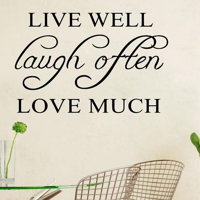 Live Well Laugh Often Love Much Simple Sentence Wall Sticker PVC Removable DIY Home Decor Living Room