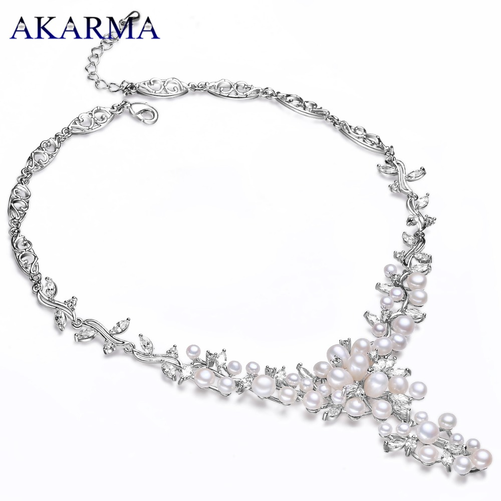 Akarma Natural Freshwater Pearl Necklace Fashion 925 sterling silver Statement Necklaces Women Real Pearl Necklace Birthday gift