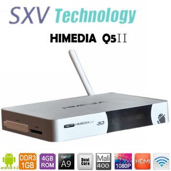 Stock HiMedia Q5II Android 4.2 TV Box with ARM Cortex A9 1.6GHZ  Dual Core 1GB RAM 4GB ROM Flash XBMC DLNA HTML5 Set Top Box