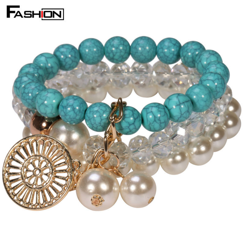 Wholesale Bohemia Chain Bracelets For Gift Women Charm Pearl Bead Bracelet Bangles(China (Mainland))