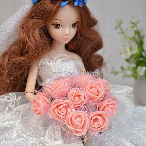 10pcs/lot Mini bride bouquet Hand Maintain flowers Combine Colours Foam roses DIY Equipment For Barbie Kurhn Doll Present Ornament