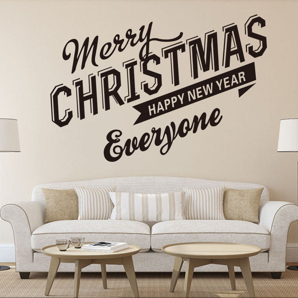 Living room The sofa bedroom wall stickers Christmas Hotel KTV bar can remove the window wall stickers Merry Christmas(China (Mainland))