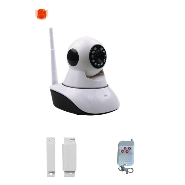 DIY Video Alarm Security System with 720P Pan Tilt Wireless IP Camera + Magnetic Door Sensor + Keychain Remote Control(China (Mainland))