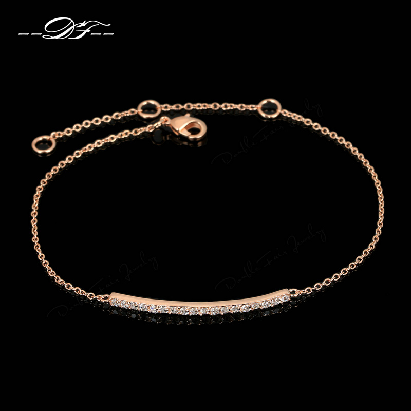 OL Style CZ Diamond Micro Pave Fashion Bracelets & Bangles 18K Rose Gold Plated/Silver Tone Crystal Jewelry Women DFH126 - Double Fair JEWELRY store
