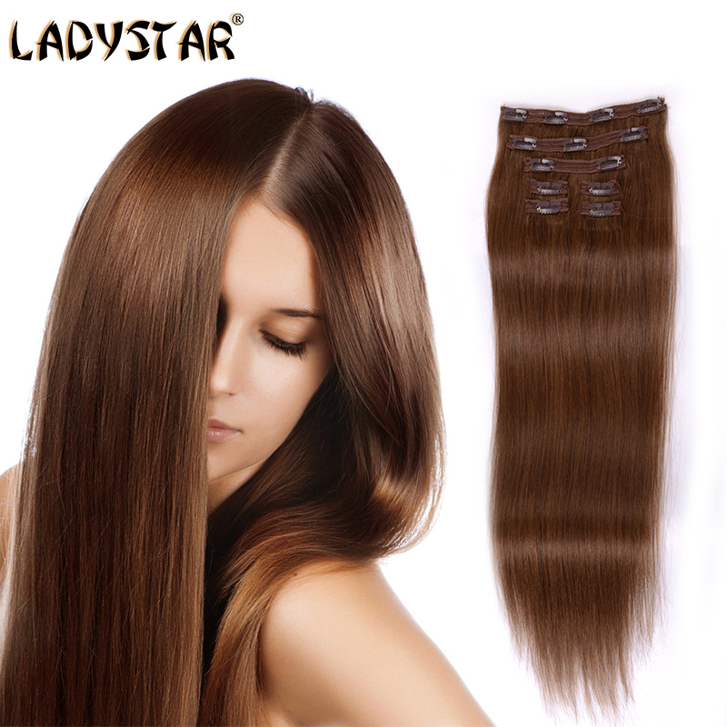 LADYSTAR Luxury 4Packs Remy Clip In Hair Extensions 8A Remy Eurasian Virgin Hair 7pcs in one 113G Claw Clip on Human Hairpiece  <br><br>Aliexpress