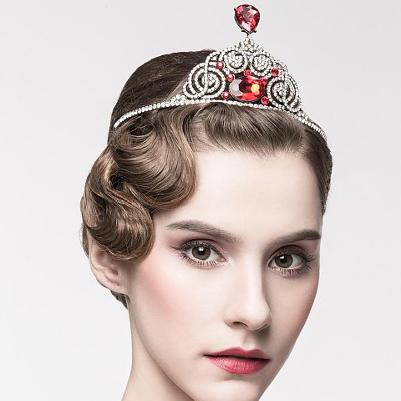 Russia Queen Chic Regal Show 18K Antique Gold Plated Ruby Red Rhinestones Royal King Crown Veil Crowns For Wedding Prom Parties