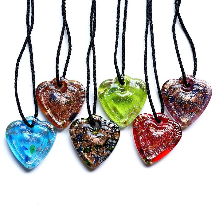 Fashion Gold Dust Necklace For Women Unique Mix Color Style Love Heart Lampwork Murano Art Glass Pendant Necklace wholesale 2015(China (Mainland))