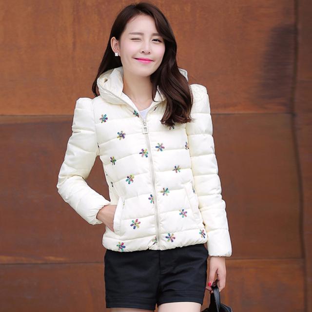 2015 корейские зимняя куртка женщины нью-slim мода вышивка пальто хлопка-ватник короткий ...