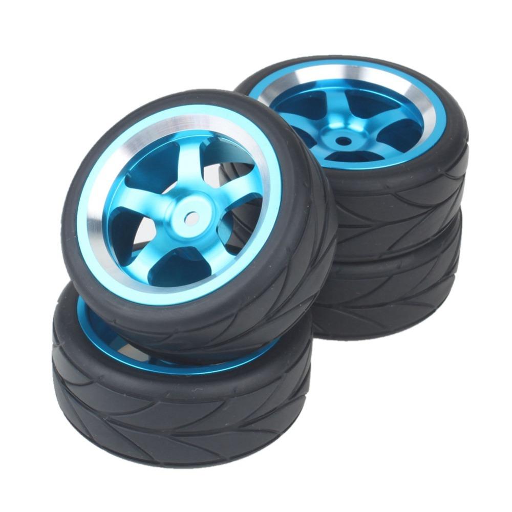 Aluminum Alloy 5 Spoke Wheel Rims Blue & Arrow Soft Tires for RC 1:10 On Road Car(China (Mainland))