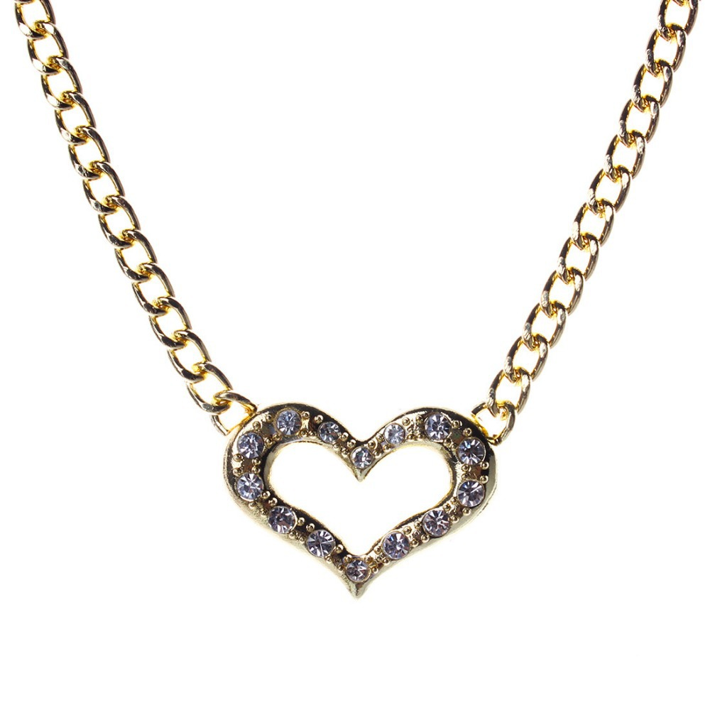 Collares 2015 Heart Crystal Pendant Necklace Gold Hotpink Yellow Color Alloy Chain Necklace New Fashion Bijoux Women N2773(China (Mainland))