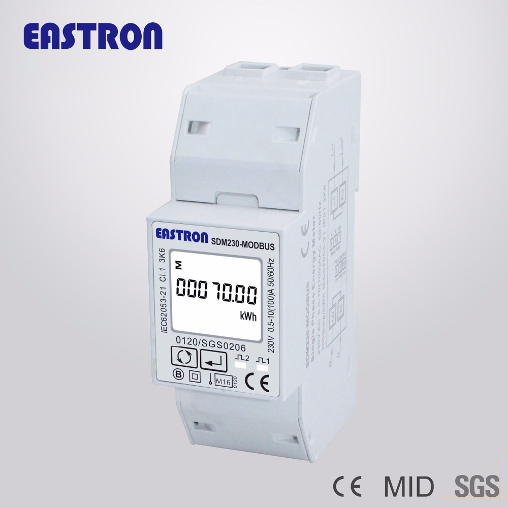 SDM230 Modbus Single Phase Energy Meter, a double DIN module, Bi-directional, Multi Function, RS485, Pulse/Modbus output(China (Mainland))