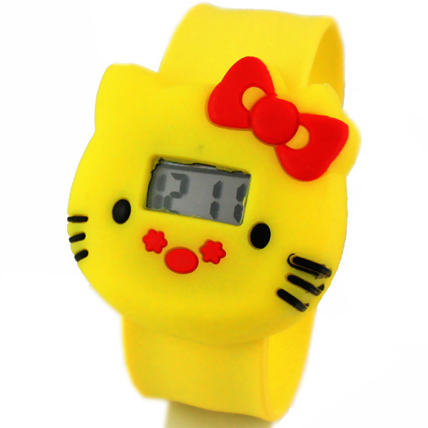 2015 Hot Selling Fashion Students kids Cute Kitty Cat candy color silicone Electronic children gift(China (Mainland))
