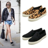 2015 new fashion Horsehair Leopard Skater Lazy Shoes Basic Women's flats Skate Casual shoes For women Spring
