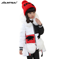 2015 Jackets For Girls Winter Coat Big Fur Collar Irregular Winter Jacket Fur Pockets Kids Clothes