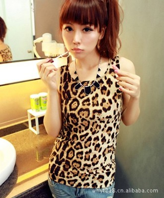2016 summer Simple Slim leopard wild long shall Vest Europe US women new fashion colorful leopard sexy cute party vest tops(China (Mainland))