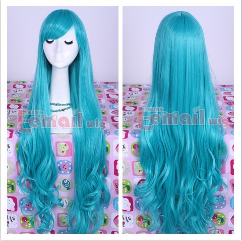 Hot New 90cm Long Dark Turquoise Anime Wavy Cosplay Full Wig Chinese Kinky Curly Virgin Hair Cheap Hair Piece CW182B<br><br>Aliexpress