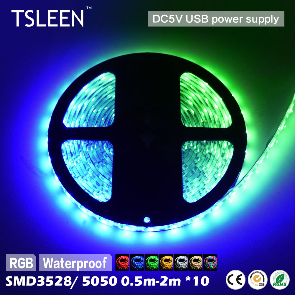 TSLEEN 10x 0.5/1/2/M COLORFUL 3528 5050 SMD COOL WARM WHITE WATERPROOF LED STRIP LIGHT 5V SUPER BRIGHT WATERPROOF/NO-WATERPROOF(China (Mainland))