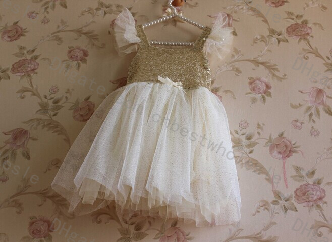 2015 Kids Girls Tulle Lace Sequins Party Dresses Baby Girl Summer Bow TuTu Princess Ruffle Sleeve Dress Childrens  Clothing<br><br>Aliexpress