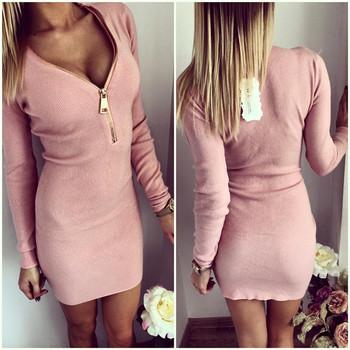 Vestidos 2015 Autumn Women Dresses Zipper O-neck Sexy Knitted Dress Long Sleeve Bodycon Sheath Pack Hip Dress Vestidos GV090