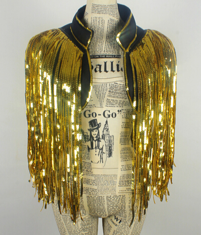 gold DS costumes dance nightclub singer new stage outfit all-match tassel Sequin vest vest over performance nightclub bar party(China (Mainland))