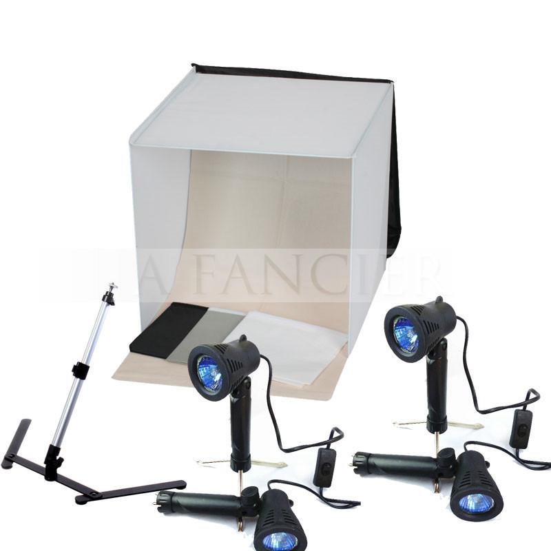 6pcs Free shipping 40CM*40CM Light Square Tent +4 Tripod Stand Bulb Photography studio kit