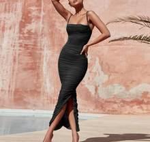 צבי גברת 2019 קיץ שמלת נשים ארוך מועדון אלגנטי Bodycon מקסי שמלת סדק רצועת סקסי רשת אורגנזה שמלת חום עבור מסיבת לילה(China)