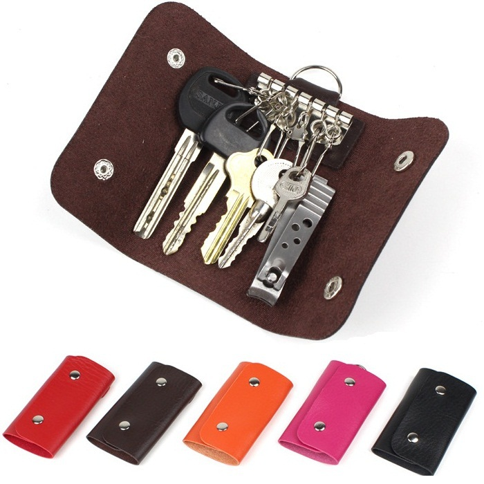 Women/Men PU Leather Key Holder Case Wallets Housekeeper For Keys Organizer Manager Key Bag Purse For Car Key Free Shipping 2015(China (Mainland))