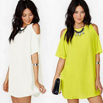 Лето стиль марка шифон мини платья женщин рукавом широкий пляж свободного покроя с плеча широкий платья плюс 3xl твердые одежда
