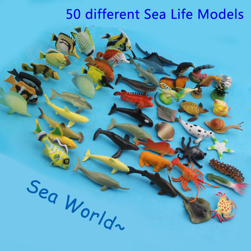 50 pcs Small Size Sea Life Model Toys PVC 4-7cm Pool Fish Toy Early Education Marine Animals Figure Set Great Gift For Children(China (Mainland))