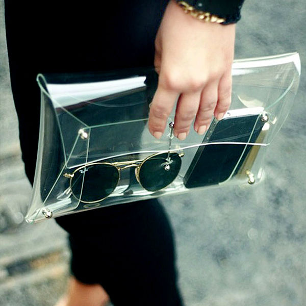 New 2015 Fashion Designer Unisex PVC Transparent Envelope Clutch Clear Color Bag Handbag For Women(China (Mainland))