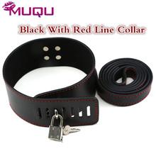 Buy Black red line sm collar neck bondage fetish flogger slave bdsm collar leather harnesses men bdsm toys sex toys couple