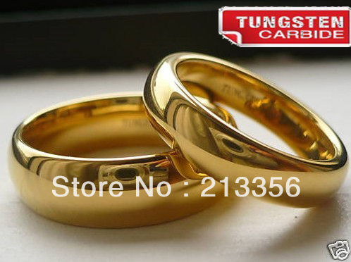 2PCS/ONE PAIR FREE SHIPPING!USA WHOLESALES CHEAP PRICE 6/8MM WOMEN&MENS DOME TUNGSTEN WEDDING 18K GOLD RING HIS/HER BRIDAL RINGS(China (Mainland))