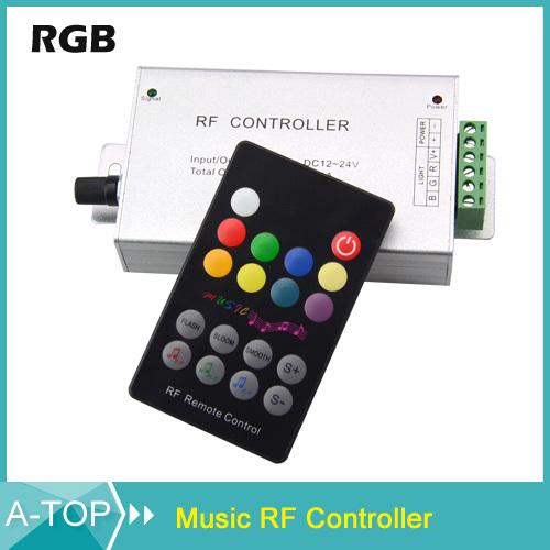 1Pcs RGB Music LED Controller RF Remote Sound Sensor Voice Audio Control For 3528 5050 5630 RGB LED Strip Light Free Shipping(China (Mainland))