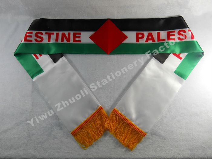 Factory Supply Stock Scarf Printing Satin Palestinian Flag Scarf 120X12CM Scarves Free Shipping Palestine(China (Mainland))