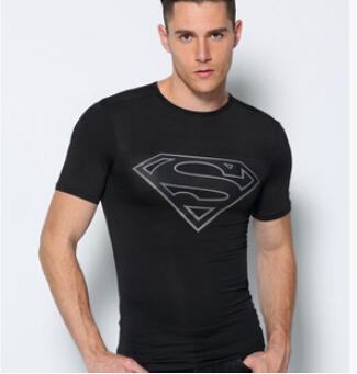 TOP Mens Boys t-shirt breathable batman superman t shirt men sportsquick dry spider-man fitness shirit Captain America clothing(China (Mainland))