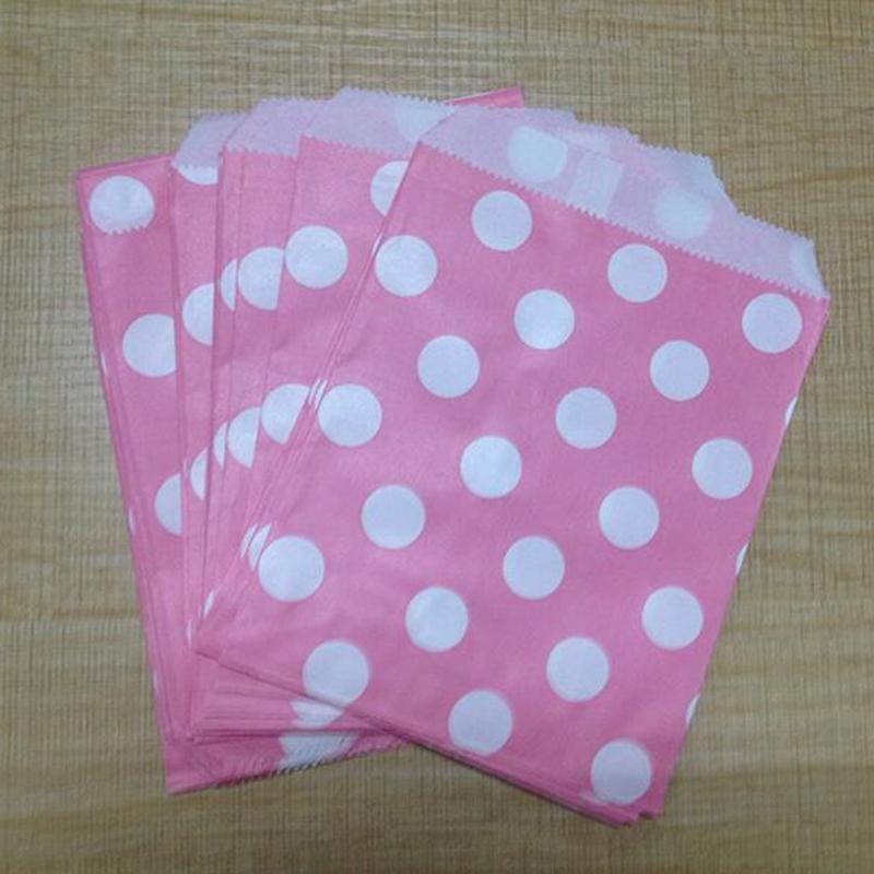 50pcs Popcorn Polka Dot Wedding Favour Buffet Food Cake Gift Paper Party Oil Bag(China (Mainland))