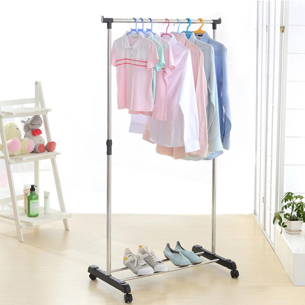 IKAYAA Metal Adjustable Coat Clothes Garment Hanging Rack Rolling Cloth Organizer Display on Wheels Shoes Rack Heavy-duty(China (Mainland))