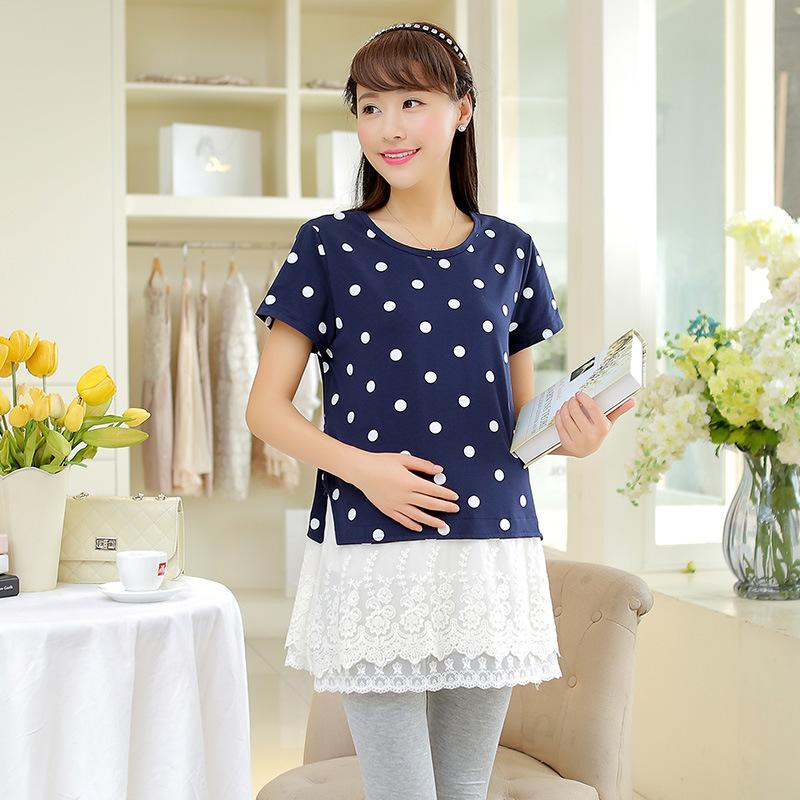 Dot print Cotton joint lace maternity lace dress short sleeve pregnancy woman dress freckle summer lace maternity woman dress<br><br>Aliexpress