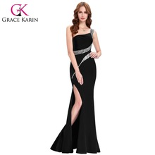Grace Karin Sequin Long Prom Dresses Black Red Royal Blue Green One Shoulder Formal Evening Gowns Sexy Party Dress CL6062(China (Mainland))