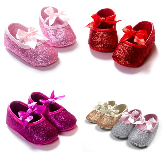 New 2016 Fashion Princess Bling sequins Bow ballet Girl baby shoes 5 colors choose baby toddler shoes first walkers